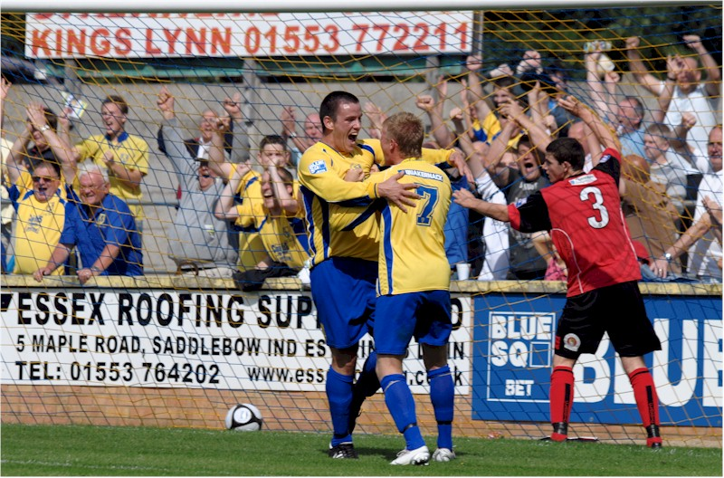 Jack Defy celebrates the first goal with Michael Frew