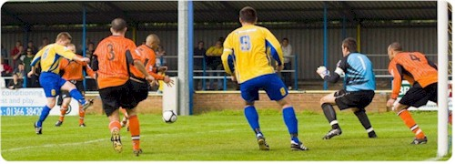 Mark Camm scores Lynn's second goal of the day (Photo Paul Hampson)
