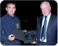 Stephen Harvey present with plaque by Ken Bobbins