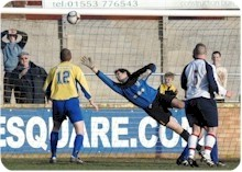 Vauxhall Motors' stoppage time equaliser - photo Tim Smith